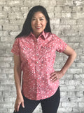 Women's Bandana Red Short Sleeve Shirt