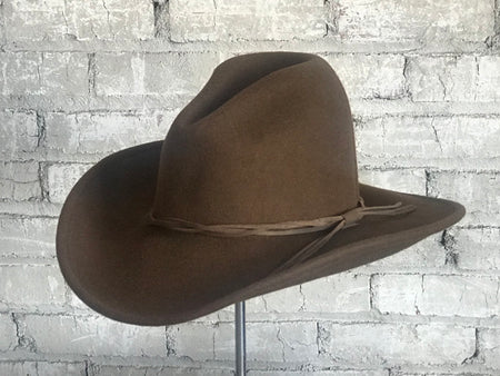 Brown Roughout Leather Cowboy Hat with Buffalo Nickels