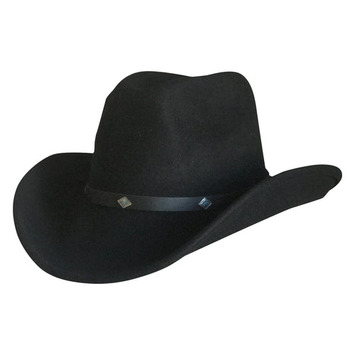 Crushable Black Felt Magic Pinch Western Cowboy Hat