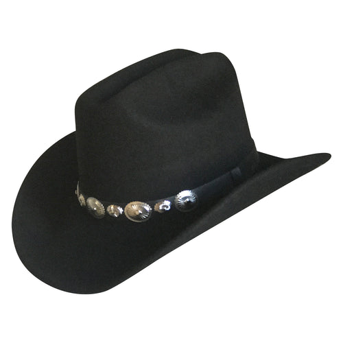 Crushable Black Felt Concho Western Cowboy Hat
