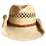 Raffia Straw Western Cowboy Hat with Vented Crown