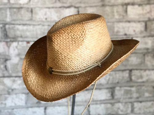 Raffia Straw Cowboy Hat With Concho String Band