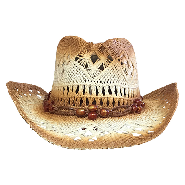 Raffia Straw 2 Tone Pinch Cowboy Hat with Beaded Band
