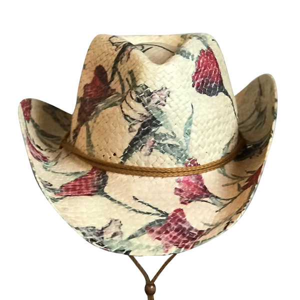 Floral Red & Green Print Straw Western Cowgirl Hat