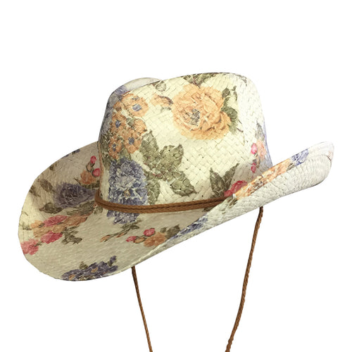 Floral Violet & Yellow Print Straw Western Cowgirl Hat