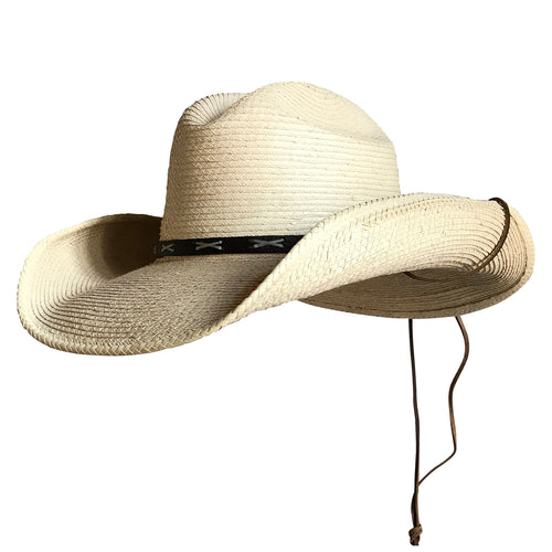 Straw Palm X Band Rolled Western Cowboy Hat