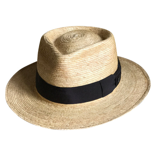 Straw Palm Fedora Western Hat with Black Band