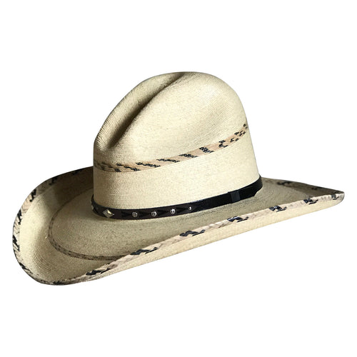 Premium Palm Straw Western Cowboy Hat with Gus Stripe