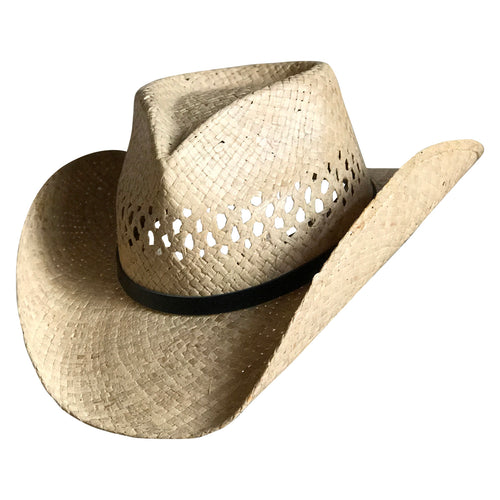 Raffia Straw Vented Pinch Crease Western Cowboy Hat