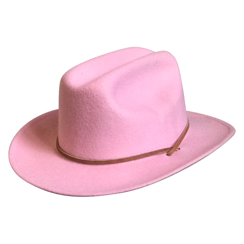 Kid's Pink Felt Western Cowgirl Hat with Chin Strap