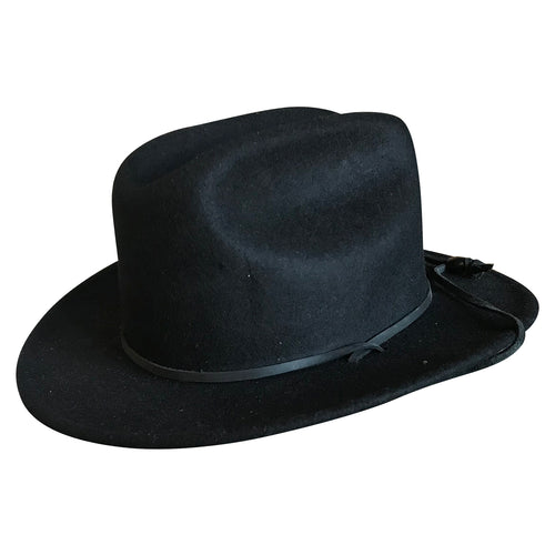 Kid's Black Felt Western Cowboy Hat with Chin Strap