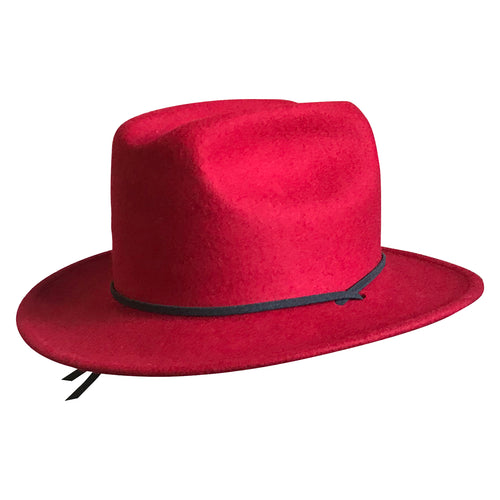 Kid's Red Felt Western Cowgirl Hat with Chin Strap