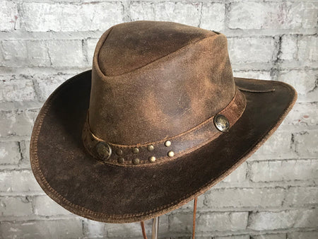 Crushable Brown Felt Concho Western Cowboy Hat