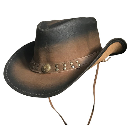 Black & Brown Roughout Leather Western Cowboy Hat with Buffalo Nickels