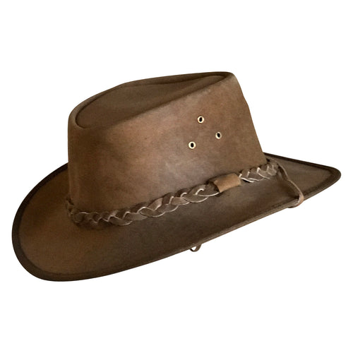Brown Genuine Leather Western Cowboy Hat with Braided Band
