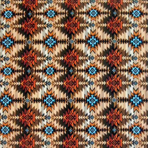 Native Print Western Cotton Bandana in Brown & Rust