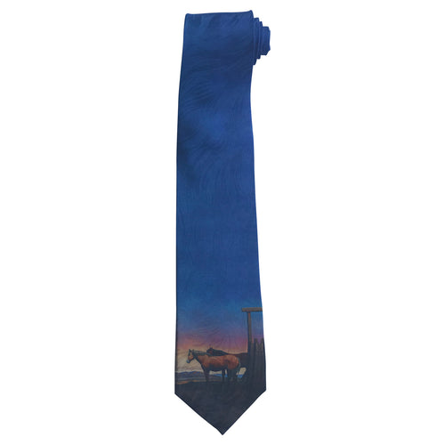 Limited-Edition Outside Sunset with Horses Silk Tie by Howard Post