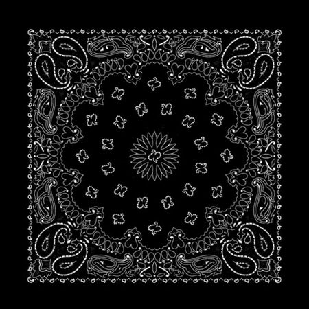 Black Mystical Hearts & Roses Western Cotton Bandana