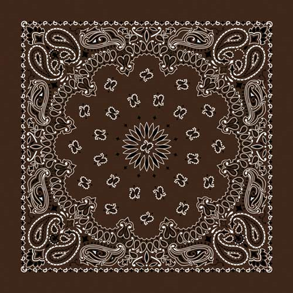 Paisley Western Cotton Bandana in Brown