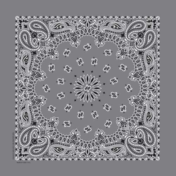 Paisley Western Cotton Bandana in Grey