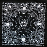 Paisley Western Cotton Bandana in Black with Skulls & Crossbones