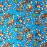Day of the Dead Western Cotton Bandana in Turquoise
