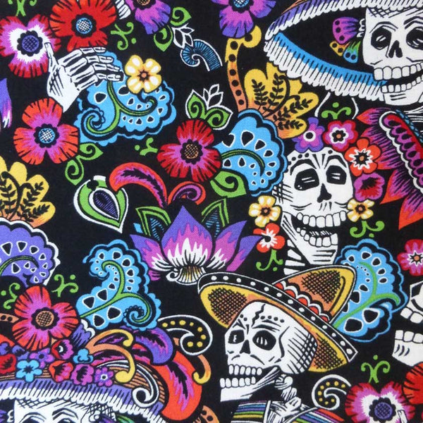 Day of the Dead Cotton Bandana in Black - Rockmount