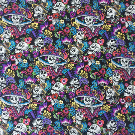 Sugar Skull Cotton Bandana