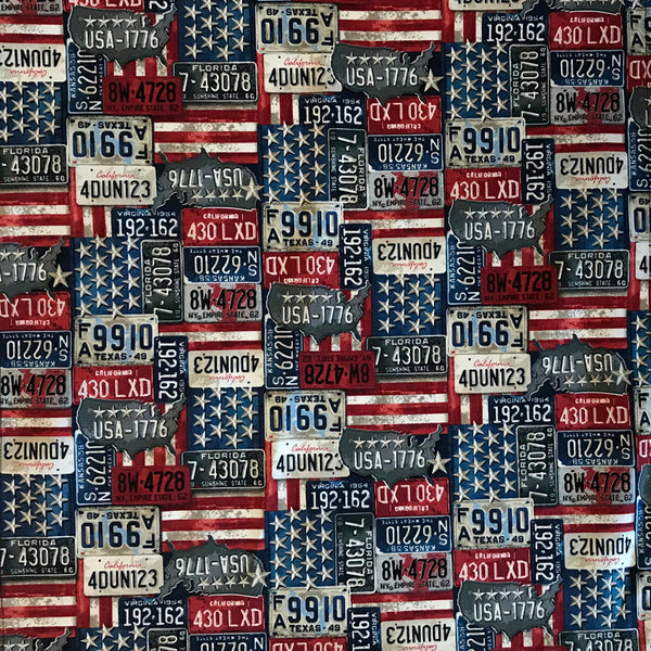 Red, White And Blue License Plate Cotton Bandana