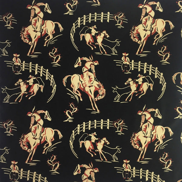 Women's Vintage Bronc Print Short Sleeve Black Western Shirt