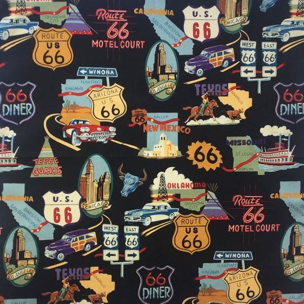 Women's Route 66 Print Western Shirt in Black