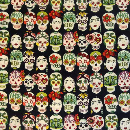 Day of the Dead Cards Western Cotton Bandana in Black