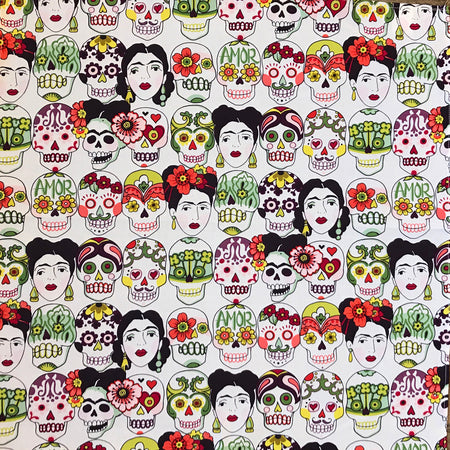 Day of the Dead Cards Western Cotton Bandana in Ivory