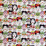 Frida Kahlo & Skulls Western Cotton Bandana in White