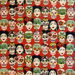 Frida Kahlo & Skulls Western Cotton Bandana in Red