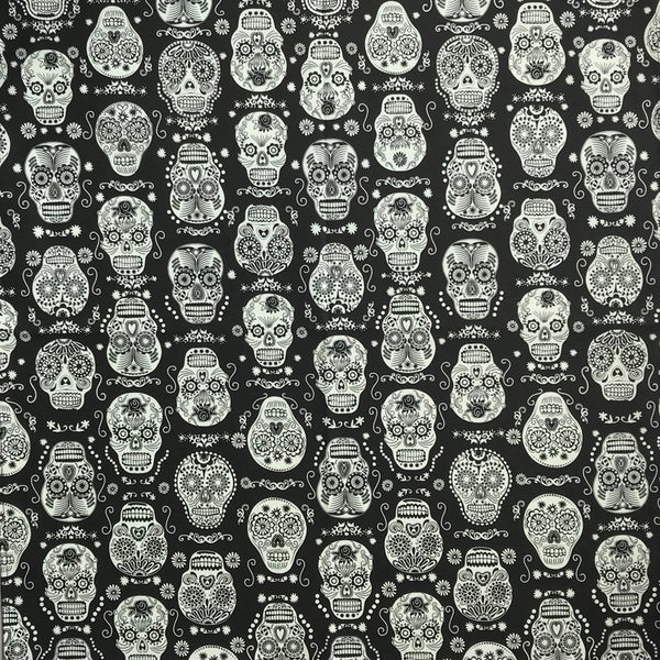 Black & White Sugar Skull Cotton Bandana - Rockmount