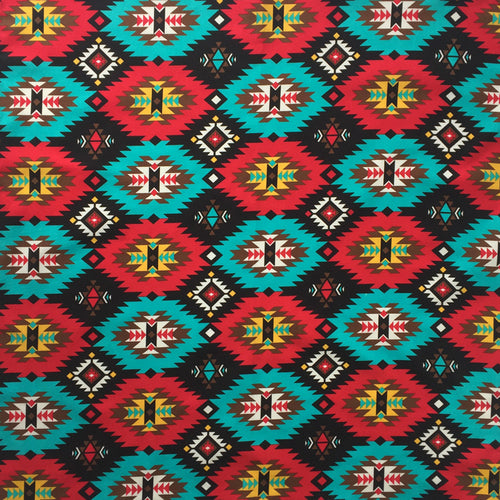 Red & Turquoise Native Print Cotton Bandana