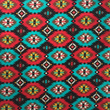 Red & Turquoise Native Print Cotton Bandana - Rockmount