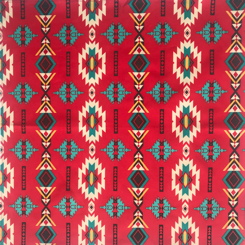 Native Print Red, Turquoise, & Black Cotton Bandana