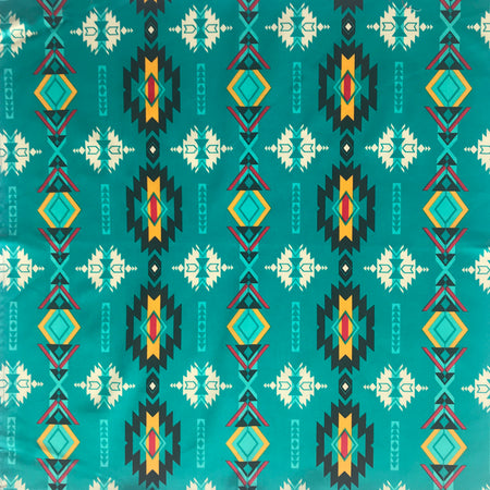 Turquoise Native Print Cotton Bandana