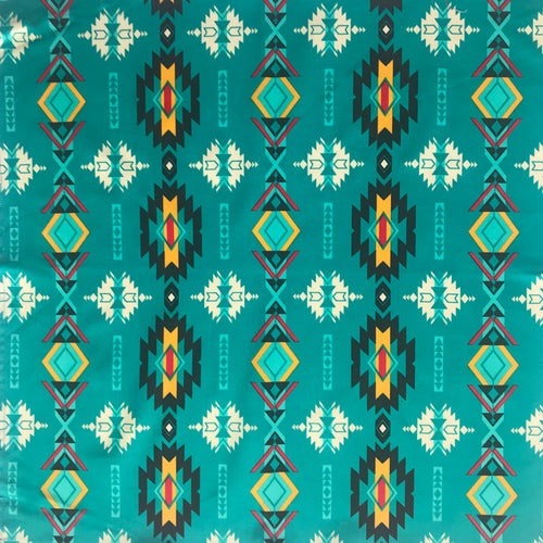 Native Print Turquoise Cotton Bandana - Rockmount