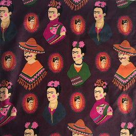 Frida Kahlo Western Cotton Bandana in Burgundy