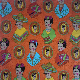 Frida Kahlo Western Cotton Bandana in Orange