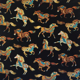Black Painted Horses Western Cotton Bandana