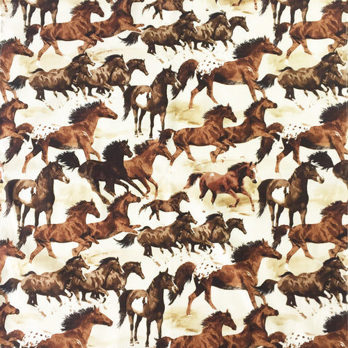 Painted Horses Brown Cotton Bandana