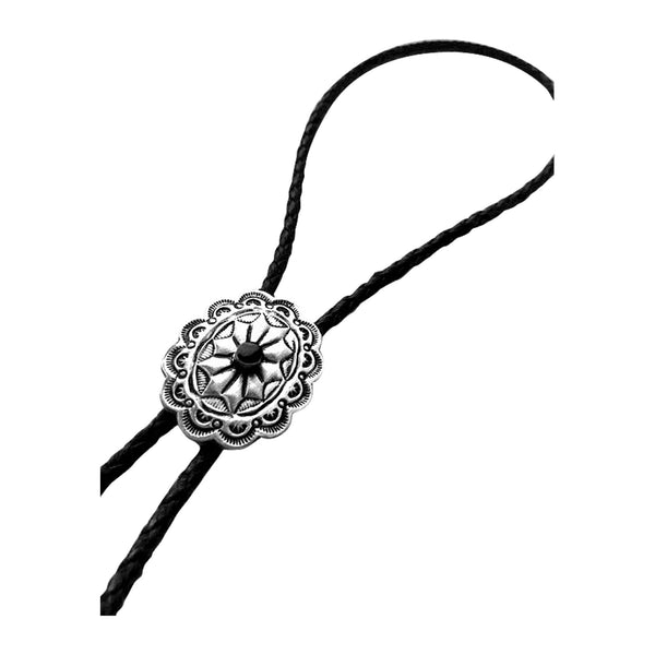 Silver Concho with Black Stone Inlay Western Bolo Tie