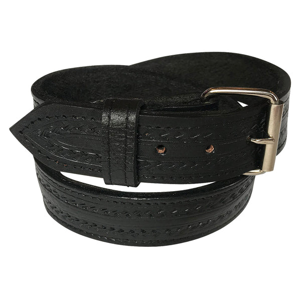 Black Tooled Check Pattern Genuine Leather Western Belt