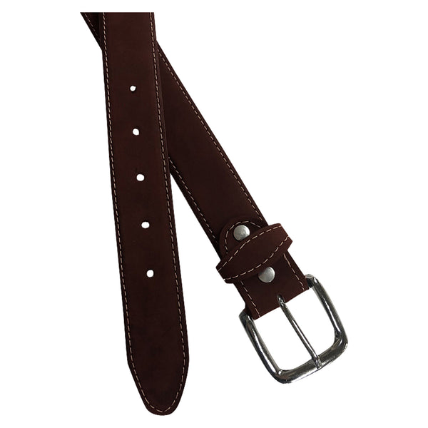 Sanded Nubuck Full Grain Genuine Leather Western Belt in Brown