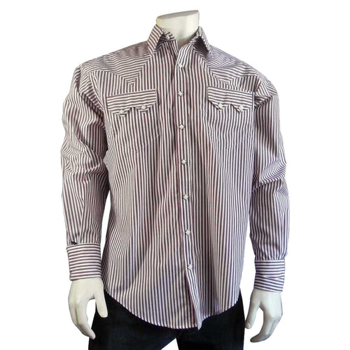 Men's 100% Cotton Striped Western Dress Shirt in Burgundy