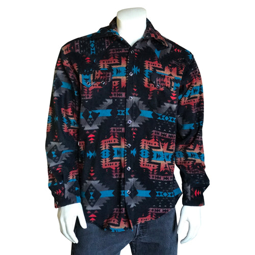 Men's Native Pattern Fleece Western Shirt in Black & Blue